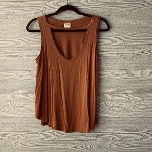 Mossimo Brown/Orange Cut Out Tank Top